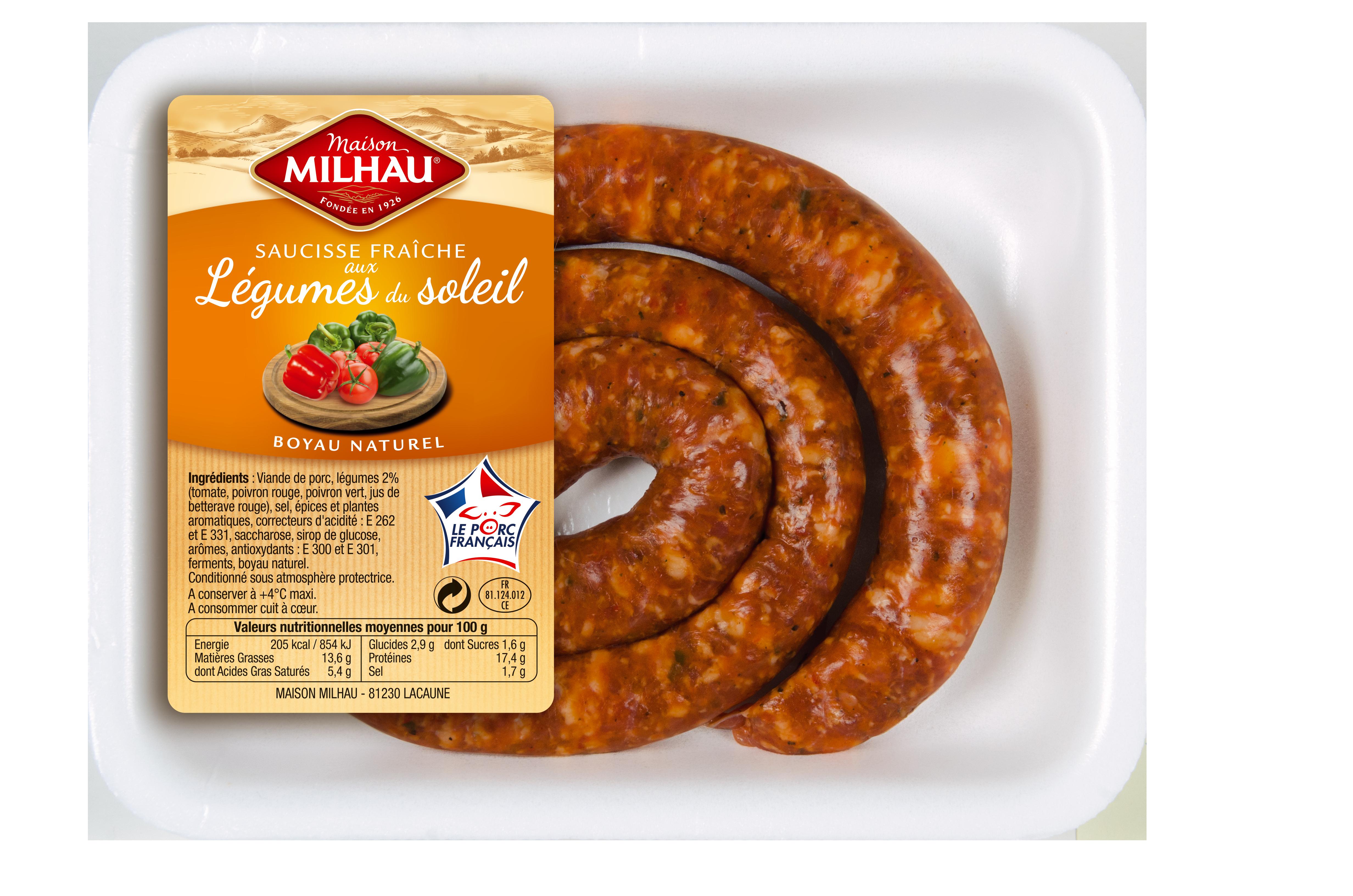 Maison Milhau élabore sa saucisse fraîche avec de la viande de porc 100% origine France
