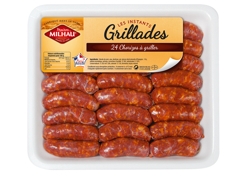 Instants grillades 24 mini chorizos griller maison milhau - Chorizo a griller recette ...