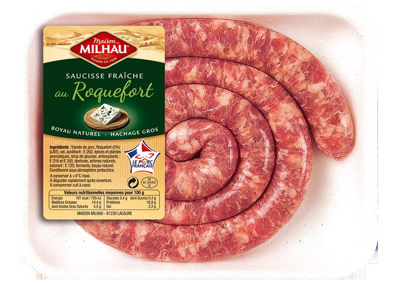 Saucisse fraiche au Roquefort Maison milhau