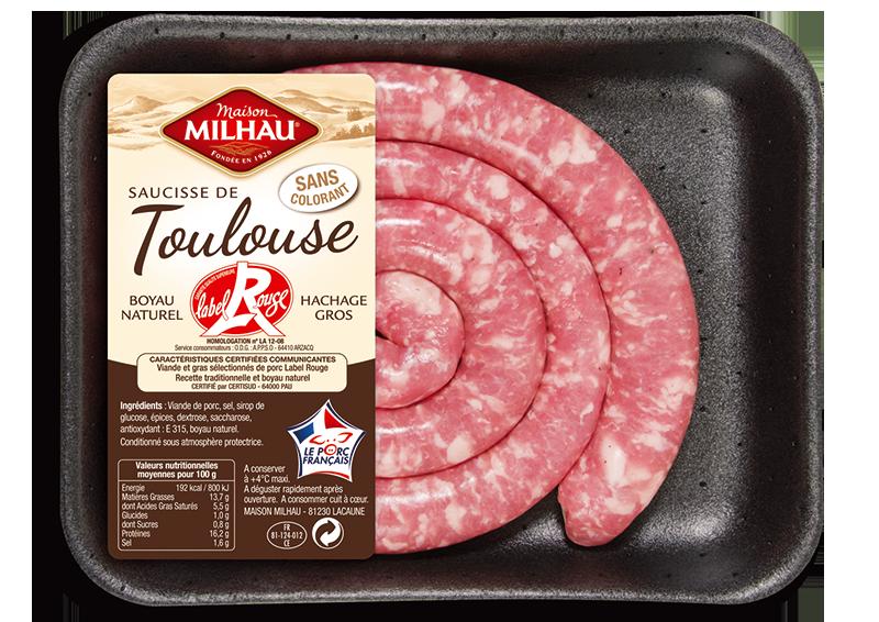 Saucisse de Toulouse Label Rouge sans colorant Maison milhau