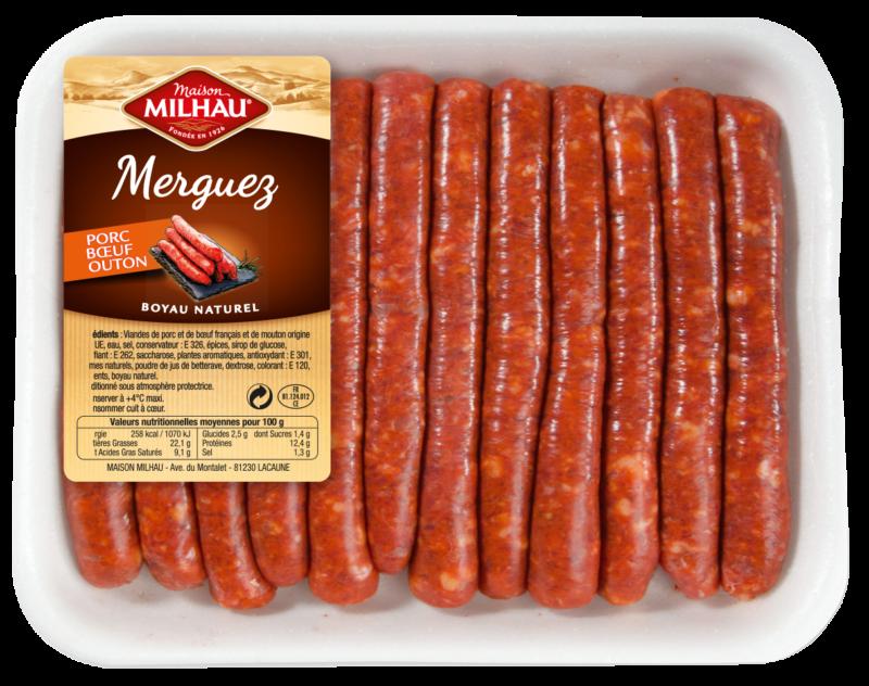 Les merguez Maison Milhau sont élaborées à partir de viandes de boeuf, de porc et d'agneau origine France