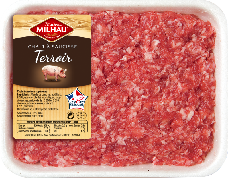 La chair à saucisse Tradition Maison Milhau incorpore uniquement de la viande de porc origine France