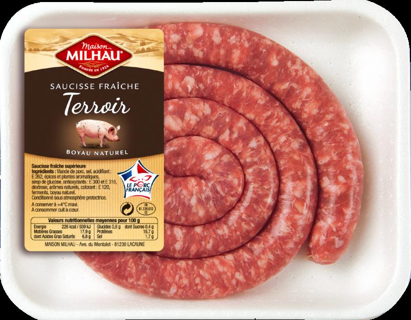 La saucisse fraîche Terroir Maison Milhau est embossée en boyau naturel.
